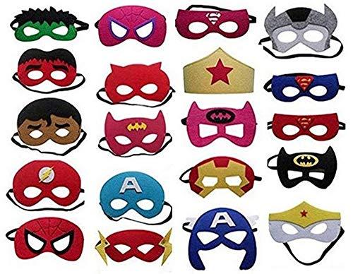 Superhelden Masken, 20 Stück Kinder Masken Halbe Augenmasken für Kinder Erwachsene Partytasche Füller Filzmaske mit Verstellbarem Elastischem Seil von 3 +