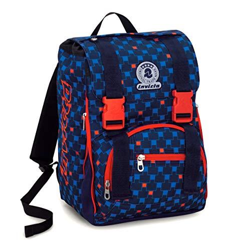 c8a0c360d4 Zaino scuola estensibile invicta , check , blu rosso , 28 lt , elementari e  medie