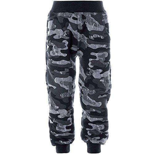 BEZLIT Kinder Sporthose Camouflage Freizeit Trainings Stoff Hose 21641, Farbe:Grau, Größe:116