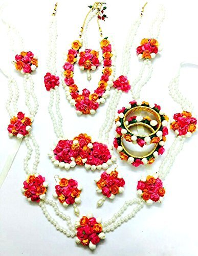 Floret Jewellery Mogra Pearl Pink Orange Complete Flower Jewellery Set With 10...