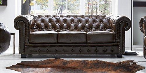 Echt Leder Sofa Chesterfield 3-Sitzer antik braun Couch Exclusive - 3