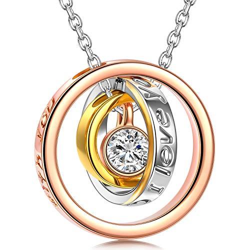 Kami Idea Weihnachtgeschenke Kette Damen Halskette für Mutter Ringe Anhänger Rosegold Swarovski Kristall Halsketten für Frauen Geschenk für Frauen Schmuck Damen Geburtstagsgeschenk für Frauen Mama