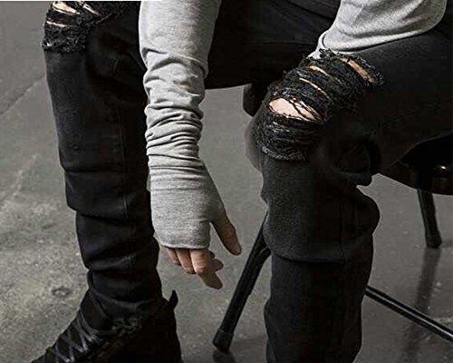 Jeans Pnatalons Denim Homme Jean Skinny à Délavage Vintage Foncé avec Genoux Déchirés Noir