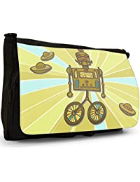 Retro Hipster Robots Large Messenger Black Canvas Shoulder Bag - School / Laptop Bag