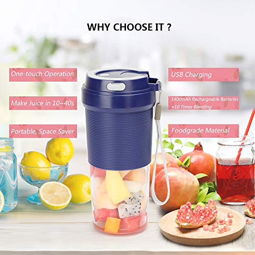 51D8bG76PQL. SS500  - POWERGIANT Portable Blender, Mini Personal Blender USB Rechargeable Cordless Small Juicer Cup Smoothie Blender Maker for…