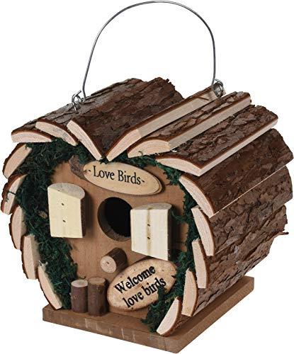 Trendkontor Vogel Nisthaus aus Holz Herz Lovebirds Vogelhaus Nistkasten 17 x 12 x 17cm