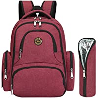 S-ZONE Large Capacity 16 Pockets Oxford Baby Diaper Nappy Backpack Organizer Water Resistant Travel Backpack with Change Pad and Stroller Straps (Wine Red-with Insulated Sleeve)