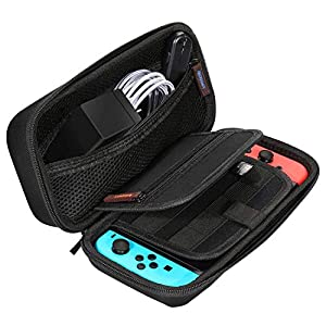 Anpvees Tragetasche für Nintendo Switch mit Nylon Zipper Slider – Ergonomische und wasserfeste Hartschalenhülle für Reisen – Schützt vor Kratzern, Dellen und Stößen – Tasche für Gaming-Zubehör