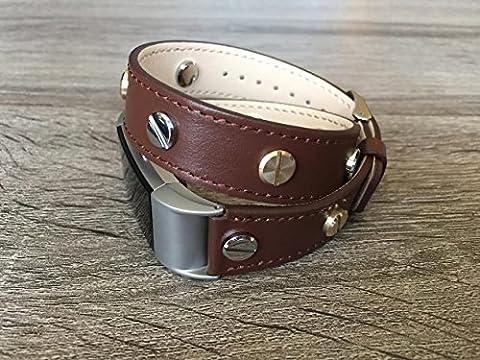 Designer Marron 2tours Eco Friendly Bracelet de cuir pour Fitbit Charge 2avec de multiples Bicolore Argenté et Doré rivets fait à la main de remplacement par BSI