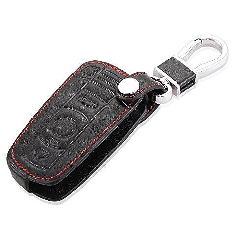 Happyit Auto Echtes Leder Intelligente Schlüsselkastenabdeckung für BMW 1/5/6 / 7series M3 M5 X1 X3 X5 X6 E36 E39 E46 E30 E60 Fernsteuerungszusätze (Schwarz)