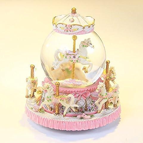 YYHKYB® Ragazza di compleanno della boutique di neve carillon giostra sfera di cristallo , pink
