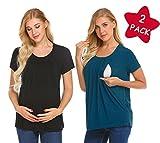 Unibelle Damen Umstandsmode Top Stillshirt Schwanger T-Shirt Umstandsshirt Umstandstop Lagendesign