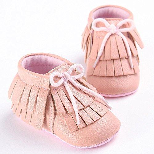 Hunpta Babyschuhe Mädchen Jungen Lauflernschuhe Baby Quasten Schuhe Kleinkind weiche Sohle Turnschuhe Freizeitschuhe (12, Navy) Rosa