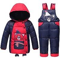 Free Fisher Chaquetas para Niñas Chaqueta de esquí para Niño Conjunto 3 piezas Abrigo con Capucha + Pantalones de nieve Ropa de invierno, Rojo Talla 90