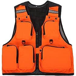 Dooxi Hombre Al Aire Libre Pesca Chaleco Transpirable Multifunción Trabajo de caza Chalecos Naranja 2XL