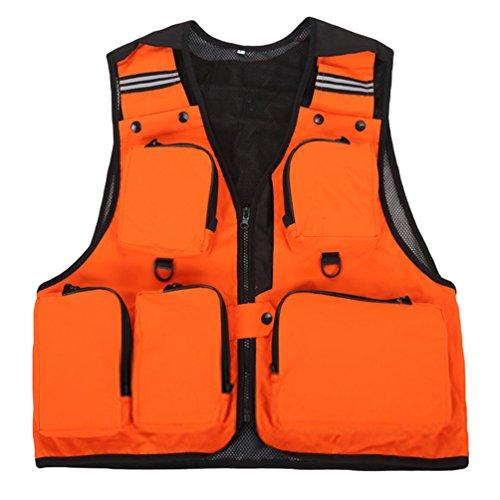 Dooxi uomo all'aperto traspirante gilet da pesca fotografia multi-tasche quick-dry gilet arancia xl