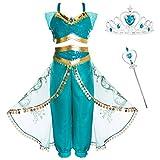 Prinzessin Jasmin Kostüm Outfit, Kinder Mädchen Bauchtanz Outfit Aladdin Dress up Kostüm Indische Kleidung Top + Haremshose Prinzessin-Kostüm für Cosplay Kids Halloween(mit Märchenbar + Stirnband)