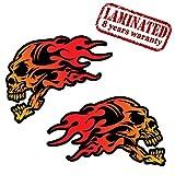 2 Stück Vinyl Aufkleber Autoaufkleber Skull Schädel Totenkopf Flammen Rot Feuer Horror Stickers Auto Moto Motorrad Fahrrad Helm Fenster Tür Tuning B 444