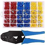 MKS Crimpzange Kabelschuhe Set, Kabelschuhzange mit 500 tlg. Elektrische Steckverbinder enthält Ring-Kabelschuhe, Rundstecker, Rundsteckhülsen, Flachstecker, Flachsteckhülsen und Stoßverbinder