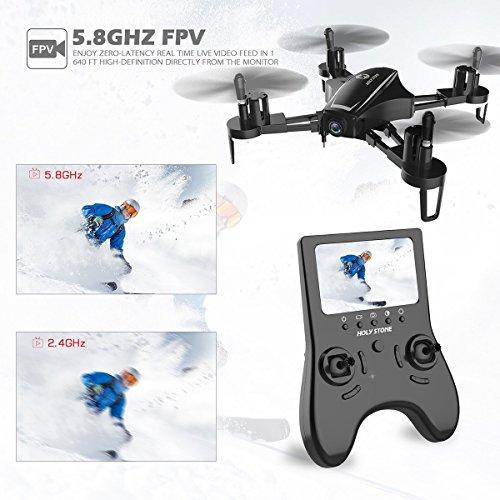 Holy Stone HS230 Drone RC FPV con 120 ° FOV 720P HD Droni Camera Live Video 45Km / h Quadcopter ad Alta velocità di Resistenza al Vento con Schermo LCD 5.8G Trasmettitore in Tempo Reale - 2