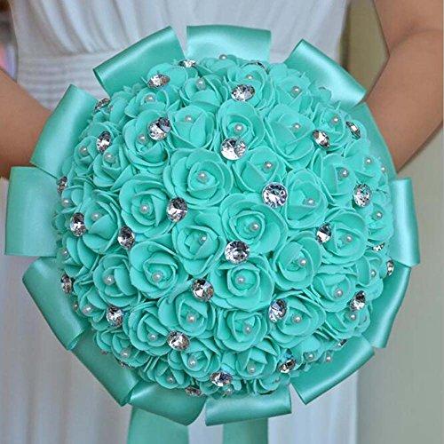 Broche à la main Bouquet de mariée Satin Rose Fleurs Strass Perles De Mariage Décoration De Mariage Cadeaux ( Color : Green )
