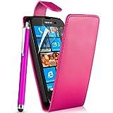 Supergets® Schlichte Einfarbige Hülle für Nokia Lumia 610 Handytasche in Lederoptik Etui Klappschale Flip Case, Mit Schutzfolie, Putztuch, Eingabestift