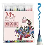 Brush Pens Set - 12 Colors - Soft Flexib...