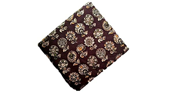 eb293ed791ab2 Perennial Women Cotton Kalamkari Blouse piece unstitched 100cms Chocolate  Base Floral rows  Amazon.in  Clothing   Accessories
