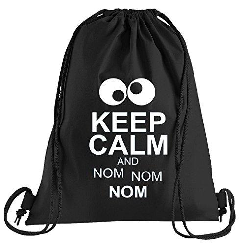 T-Shirt People Keep Calm and NOM NOM Sportbeutel - Bedruckter Beutel - Eine schöne Sport-Tasche Beutel mit Kordeln (Für Sesame Erwachsene Street T-shirts)