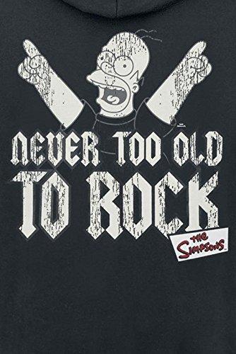 The Simpsons Never Too Old To Rock Sweat à capuche zippé noir Noir