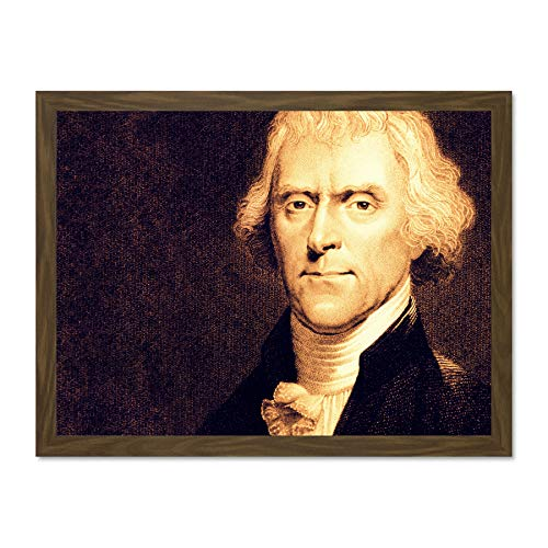 Painting Portrait President Thomas Jefferson Founding Father USA Large Framed Art Print Poster Wall Decor 18x24 inch Supplied Ready To Hang Malerei Porträt Präsident Vereinigte Staaten von Amerika -