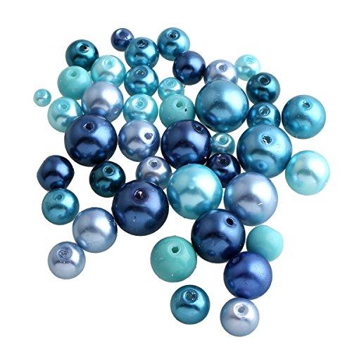 Perlin - 250g Glaswachsperlen Glasperlen Wachsperlen Konvolut Kugel Blau Mix Set 4 6 8 10 12 mm Bastelset Perlenset Perlenmischung Schmuckperlen Zum Fädeln Glass Pearl Beads D35