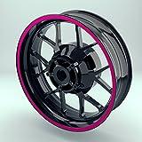OneWheel Felgenrandaufkleber Pink - 10mm - Motorrad & Auto (15-19 Zoll) - Farbe Wählbar - 10 Felgenstreifen für Vorder- & Hinterreifen (Violett)