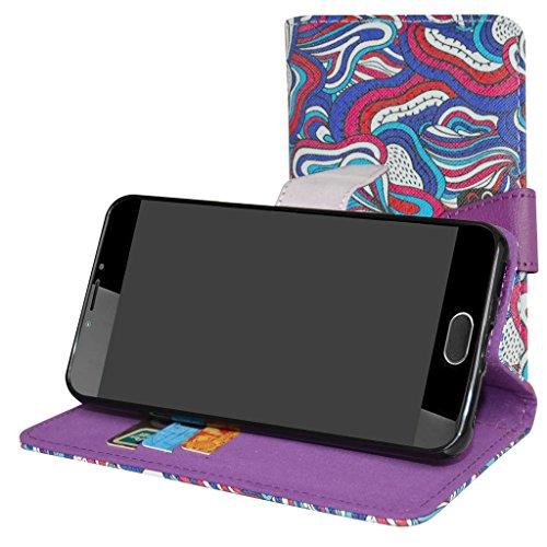 Mama Mouth Liquid Z6 Plus Hülle, Brieftasche Schutzhülle Case Hülle mit Kartenfächer und Standfunktion für Acer Liquid Z6 Plus Android 6.0 Smartphone,Mushroom Fantasy