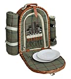 2 Person Country Green Tweed Willow Back Pack Picnic Hamper
