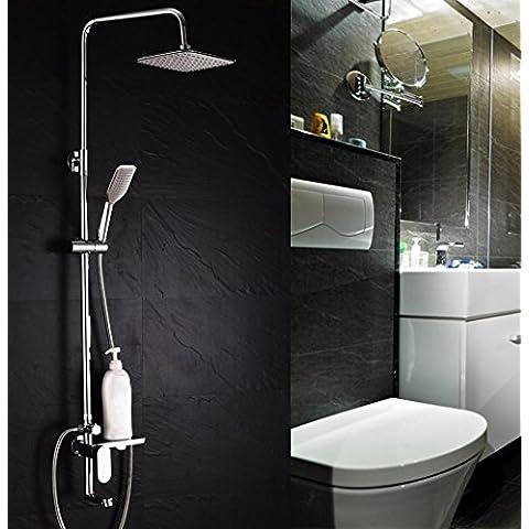 SUN-Sistema de ducha de ba¤o de pared de lat¢n s¢lido Sistema de ducha de ba¤o sin plomo Mezclador de lujo Combo de ducha, cromo