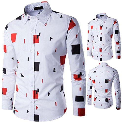 Herren Hemd Longra Herren Casual Langarm Shirt Hemden Business Hochzeit Freizeit Slim Fit Bedruckte Bluse Orange