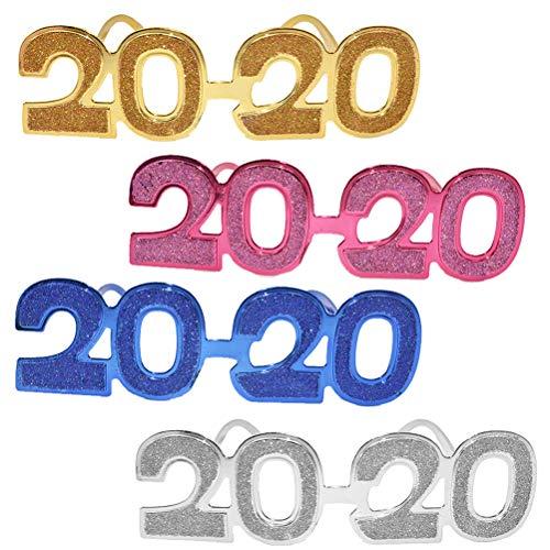 TOYANDONA Party Brille 2020 Silvester Neue Jahr Party Kostüm Foto Requisiten Zubehör 4pcs(Vier Farben)
