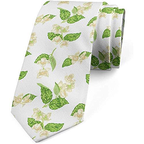 Krawatte, romantische frische Blüten, Limones grünes graues Gelb