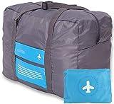 ShopAIS Happy Flight Folding Waterproof Multipurpose Travel Bag (Blue + Grey)