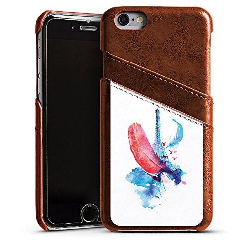 Apple iPhone 4 Housse Étui Silicone Coque Protection Ressort Art Tour Eiffel Étui en cuir marron