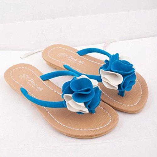 Omiky® Frauen Bohemia Slipper flache Schuhe Blume Freizeit Lady Sandalen Outdoor Beach Schuhe Blau