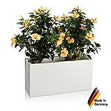 Pflanzkübel DECORAS Kunststoff Pflanztröge – versch. Größen – weiß matt – frostsicher & UV-beständig (8 Jahre Garantie) – geeignet für Innen- & Außenbereiche – Premium Blumenkübel