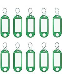 Wedo 262103404 Schlüsselanhänger Kunststoff (mit S-Haken, auswechselbare Etiketten) 10 Stück, grün