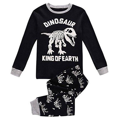hibote Niños Niñas de algodón de manga larga pijama Pjs Nightwear Set Black Dinosaur 100cm 4 Year