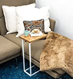bonVIVO® Designer Coffee Table DONNA, Side Table in Modern Combination of Stainless Steel and Natural Wood with Stainless Steel Frame in White