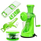 Combo Of Fruit & Vegetable Premium Manual Hand Juicer Mixer + 2 In 1 Multi Veg Cutter And Crusher With Peeler + Round Multi Crusher + 6 In 1 Veg. & Fruit Slicer & Grater Multi-Purpose Slicer By Olypex