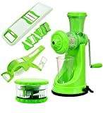 #8: Olypex Fruit and Vegetable Manual Hand Juicer Mixer, 2 In 1 Multicutter and Crusher with Peeler, Round Multicrusher, 6 in 1 Slicer and Grater (Green)
