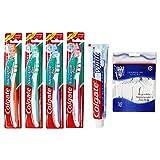 Colgate 4er Set Handzahnbürste Navigator Plus medium - 75 ml Zahncreme und 50 Zahnseide-Sticks (Navigator Plus)