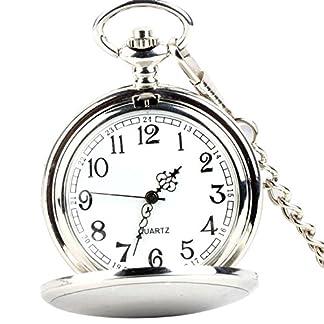 XLORDX-Taschenuhr-Herren-Unisex-Quarz-Uhr-mit-Halskette-Kette-uhr-Pocket-Watch-Geschenk-Silber